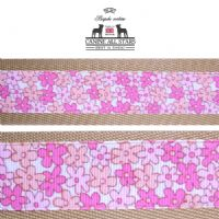MARTINGALE DOG COLLAR - TINY FLOWERS IN PINK AND PEACH